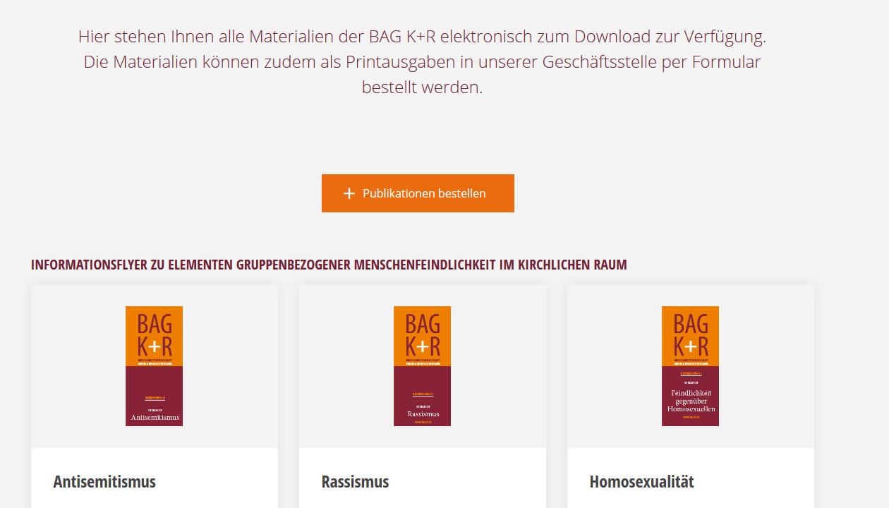 Screenshot Publikationen der BAG K+R